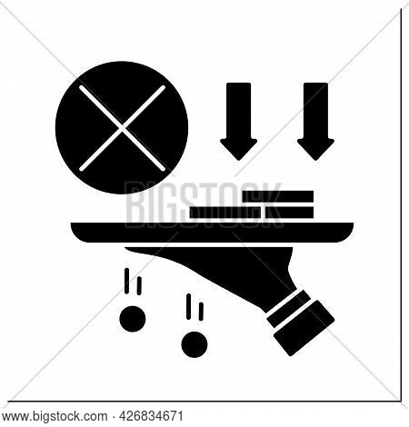 Money Glyph Icon. Hand Hold Tray Of Cash, Coins. Loses Saving Cash.poverty Concept. Ifilled Flat Sig