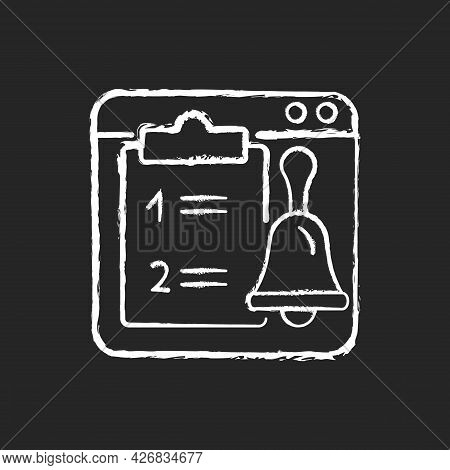 Online Reminder Chalk White Icon On Dark Background. Organizer App For Important Tasks. Planning And