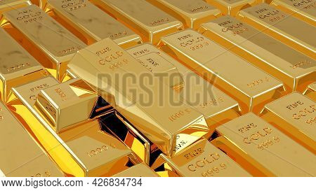 Fine Gold Bars Weight Of 1000 Grams On Stack Of Fine Gold Bars. Financial Concept. 3d Rendering Illu