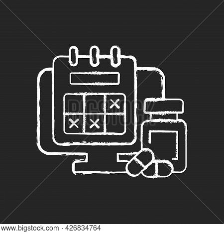 Tracking Sick Leave Time Chalk White Icon On Dark Background. Scheduling Days Off For Employee Durin