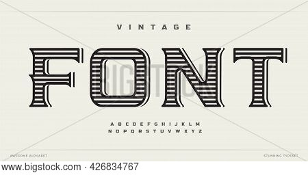 Vintage Style Font Alphabet Letters. Western Logo Typography. Handcrafted Typographic Design. Old Sc