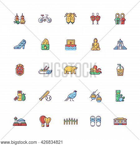 Taiwan Rgb Color Icons Set. Isolated Vector Illustrations. Taiwanese Traditional National Items. Asi