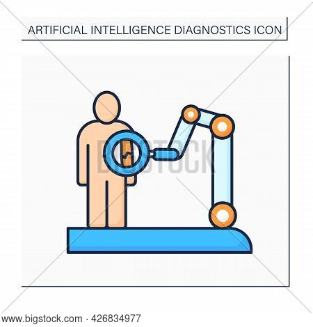 Ai In Medicine Color Icon. X-ray. Robot Machine Examine Human Body. Modern Technology Improves Medic