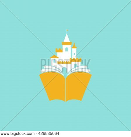 Open Red Book With Castle. Isolated On Powder Blue Background. Flat Icon. Vector Illustration. Magic