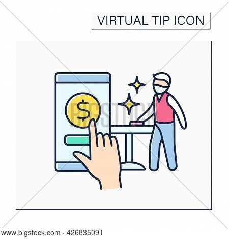 Donations Color Icon. Online Contributions For Waiter Service. Positive Work Review. Online Money Su