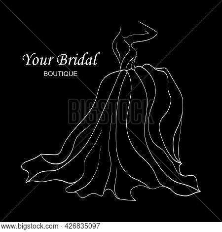 Dress Logo For An Individual Boutique. Linear Beautiful Female Figure In A Magnificent Wedding Dress
