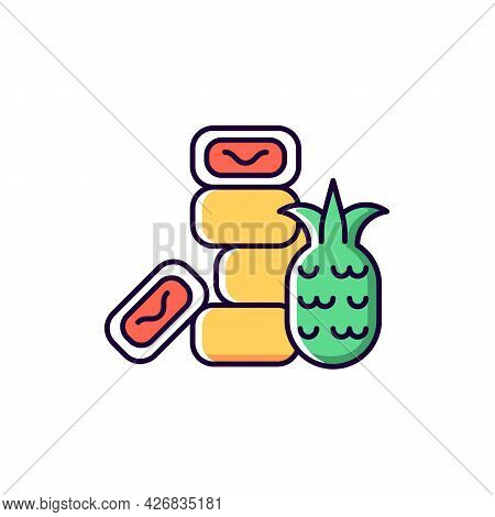 Pineapple Cake Rgb Color Icon. Isolated Vector Illustration. Sweet Traditional Taiwanese Pastry. Asi