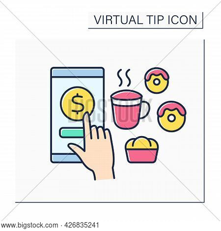 Donations Color Icon. Digital Money For Services In Cafes. Tips For Delicious Food And Drinks. Virtu