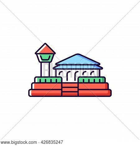 Fort Zeelandia Rgb Color Icon. Isolated Vector Illustration. Taiwan Solid Fortress. Asian Ethnic Her