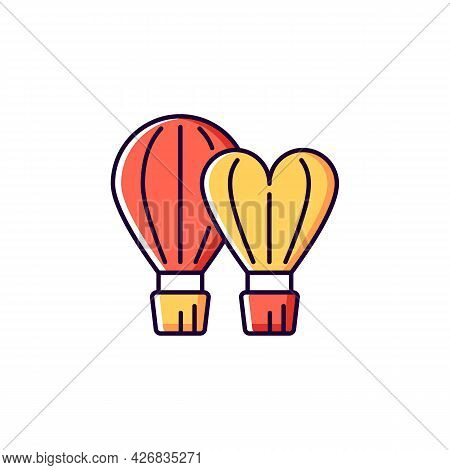 Taiwan International Balloon Festival Red And Yellow Rgb Color Icon. Isolated Vector Illustration. F
