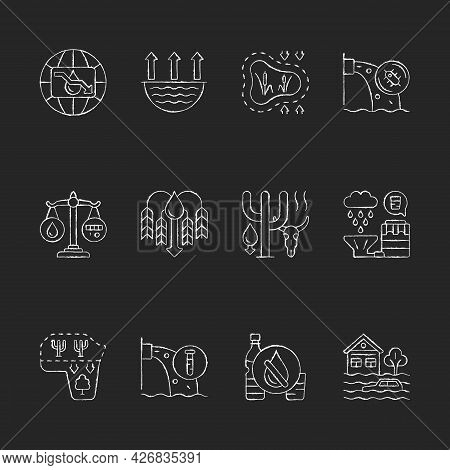 Global Water Crisis Chalk White Icons Set On Dark Background. Water Resources Contamination. Reuse A