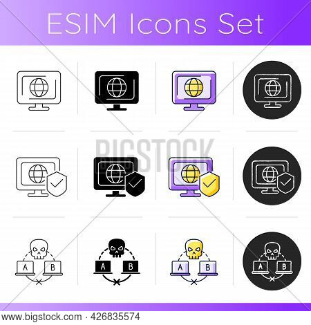 Protecting Right To Online Privacy Icons Set. Cyberspace. Network Security. Sniffing Attack. Interne