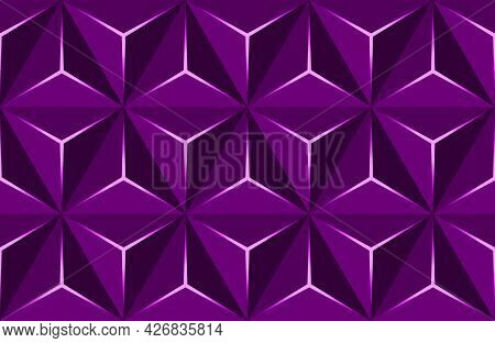 Geometric 3d Pattern With Basic Shapes. Purple Background With Luxury Dark Polygonal Texture And Pin