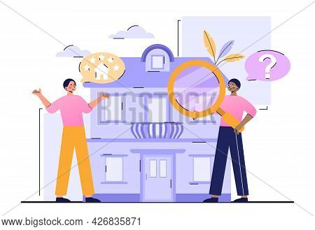 House Selection And Search Concept. Buyers Are Looking For A House Based On The Rating. Choosing A S