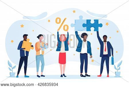 Hr Employee Engagement Concept. Girl Holds The Percentages In Her Hands, And The Company S Employees