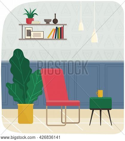 Room Interior With Colorful Armchair, Plants And Coffee Table For Relaxing And Podcasting. Room For