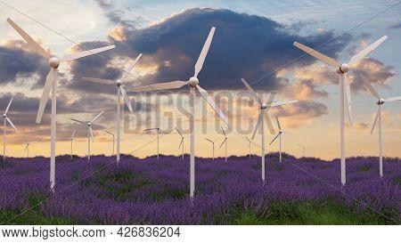 Wind Turbines In Lavender Field Windmill Electricity 3d Illustration