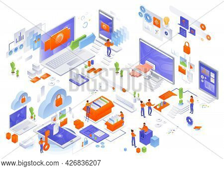 Network Management, Vector Isometric Icon Set. Cloud Storage, Data Synchronization, Technical Suppor