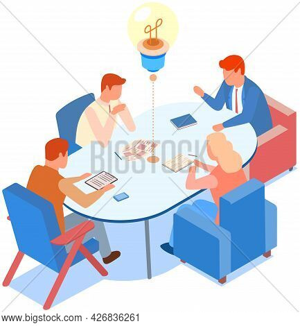 Idea Symbol In Form Of Lightbulb. Colleagues Communicate And Discuss Startup During Meeting In Offic