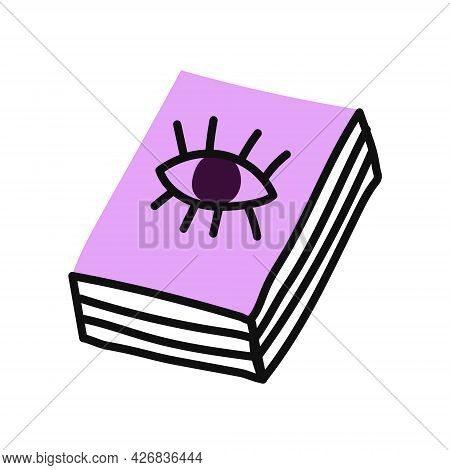 A Book Of Spells. Vector Flat Illustration On A White Background. Decor For Halloween, Posters, Flye