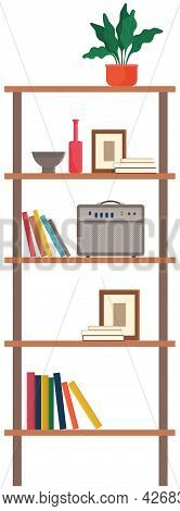 Wooden Cabinet Or Rack With Shelves, Decorations. Office Or Home Furniture Isolated On White Backgro