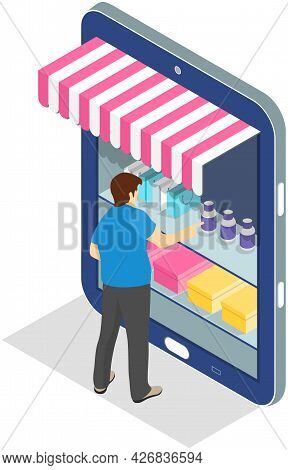 Online Shopping Web Technologies Concept. Man Standing Next To Big Smartphone In Form Of Trade Kiosk