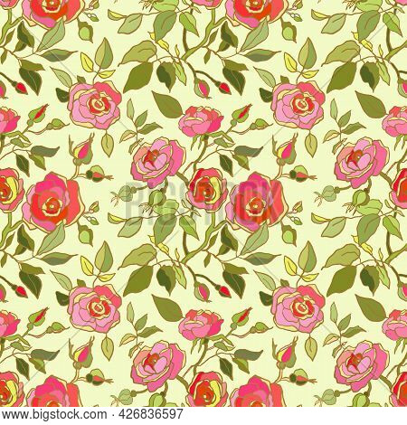 Cute Floral Pattern Of Pink,red Roses Flowers. Seamless Print With Garden Flowers On Light Green Bac