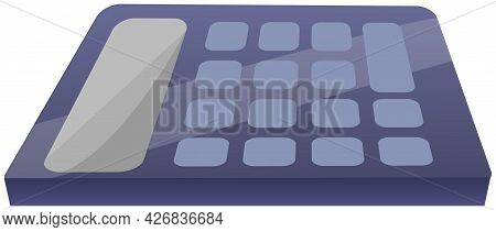 Blue Calculator, Electronic Device For Mathematics Calculations With Buttons Isolated On White. Digi