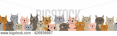 Horizontal Seamless Pattern With Colorful Cats. Ginger, Grey And Pink Cats With Different Facial Exp