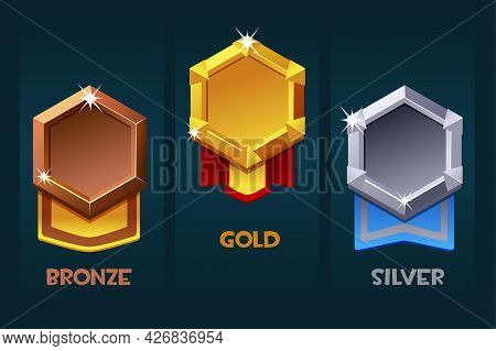 Award Badge For Game Resources, Blank Medallion With Ribbon For Ui.