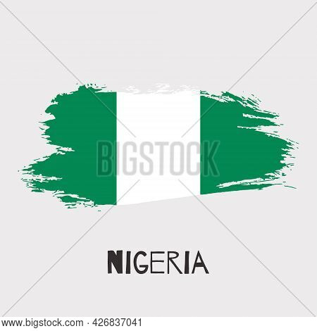 Nigeria Vector Watercolor National Country Flag Icon. Hand Drawn Illustration With Dry Brush Stains,