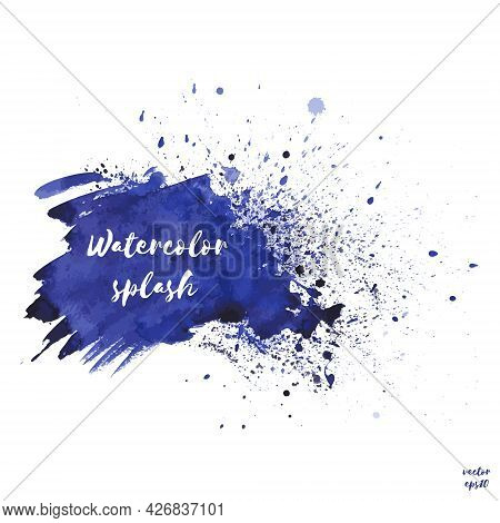 Vector Navy Blue, Indigo Watercolor Splash Texture Background With Dry Brush Stains, Strokes And Spo