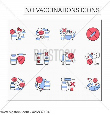 No Vaccination Color Icons Set. Vaccination Refused. People Avoid Group Inoculation. Fight Against C