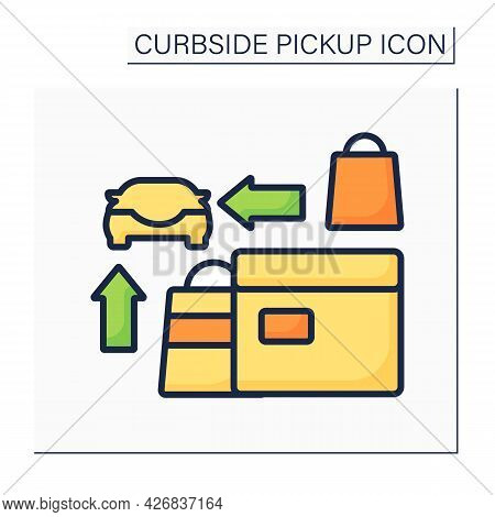 Curbside Pickup Color Icon. Credit Card Paying Purchases. Contactless Shopping. Contact-free Deliver