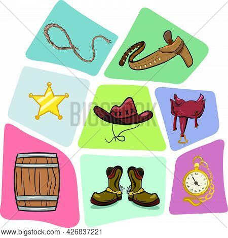 Lasso Sheriff Badge Cowboy Hat Belt Saddle Barrel Shoes And Pocket Watch. Wild Western Texas Desert