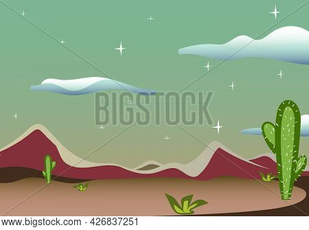 Desert Scene From Wild Western Texas. Country Side Cowboy Vector Background Setup. Sand And Hills Wi