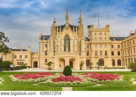 Lednice, Czech Republic - September 17, 2020: Flowers And Front Facade Of The Castle In Lednice, Cze