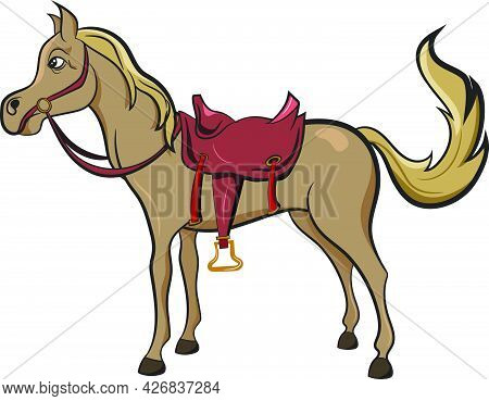 Horse Saddle From The Wild West. Adorable Illustration For Childrens Book. Wild West Texas Country G