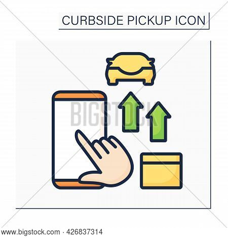 Curbside Pickup Color Icon. Online Ordering, Tracking Purchases. Fast Delivery. Contactless Shopping