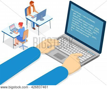 Hands Of Programmer Working On Computer. Programming Or Coding Concept. Carton Characters Work With