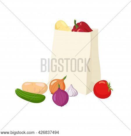 Paper Bag Full Of Vegetables. Various Organic Vegetables Lie In Environmentally Friendly Bag And Nea