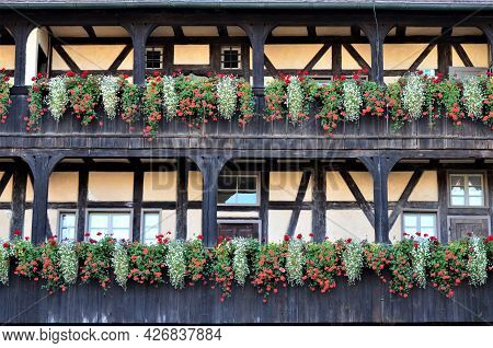 Half-timbered Facade In The Old Town Of Bamberg, Germany
