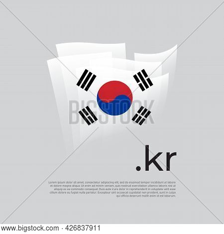 South Korea Flag. Vector Stylized Design National Poster On A White Background. South Korean  Flag P