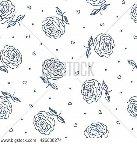 Vintage Outline Roses Seamless Pattern. Blue Tiny Flower, Dots And Hearts On White. Hand Drawn Garde