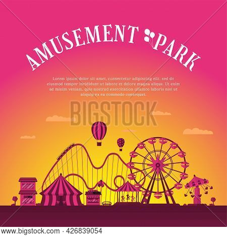 Amusement Park Banner Design Template. Circus Carousels Roller Coaster And Attractions. Fun Fair And