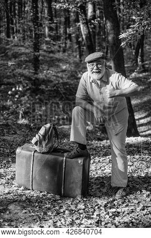 Travel Is My Therapy. Happy Pensioner Show Thumbs Up In Nature. Enjoying Travelling. Old Man With Re