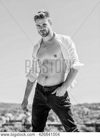 Muscular Torso. Muscular Sexy Macho Man. Attractive Torso. Hot Day Outdoors. Attractive Man Taking O