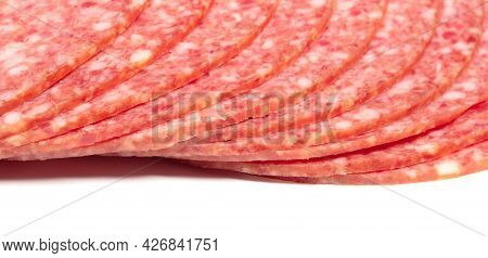 Slices Of Smoked Sausage Salami, Isolated On White