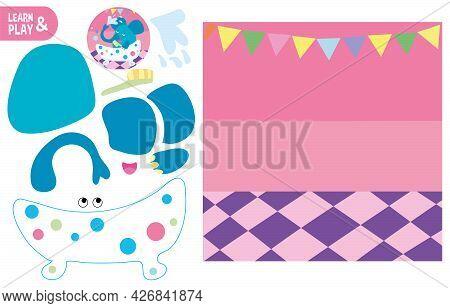 Cut Glue Elephant In Bathroom Children Paper Application Game