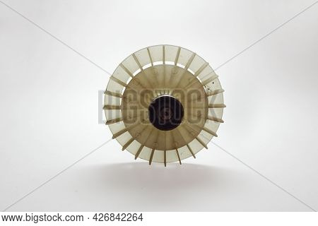 Impeller Of Electric Motor. Round White Plastic Fan
